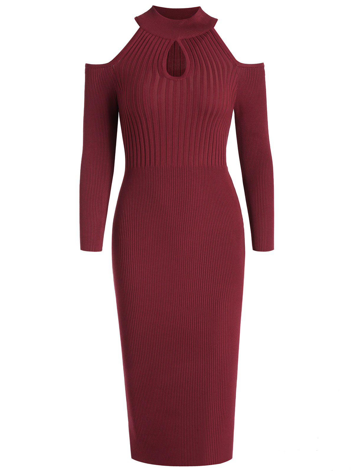 Unique Women's Stand Collar Dew Shoulder Long Sleeved Bodycon Dress