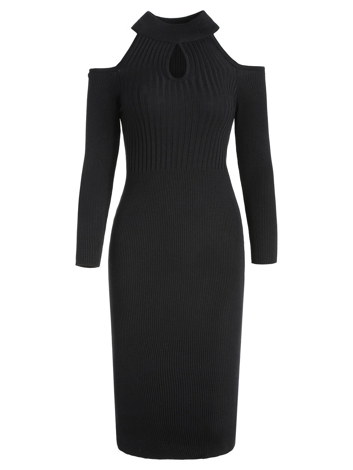 Online Women's Stand Collar Dew Shoulder Long Sleeved Bodycon Dress