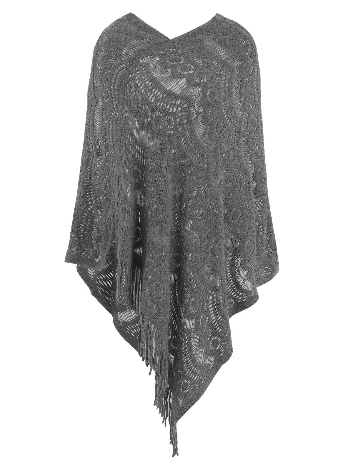 Latest Hollow Out Fringe Irregular Pullover Shawl Sweater