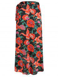 Gamiss Women's  Vintage Floral Tie Up Waist Summer Beach Wrap Cover Up Maxi Skirt -