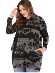 Plus Size Printed Casual Pocket Top -