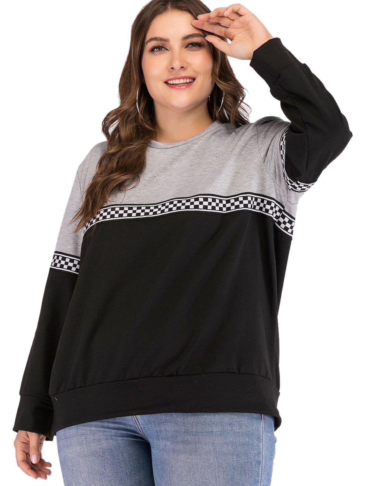 Outfit Plus Size Color Block Lattice Ribbon Sport Hoody