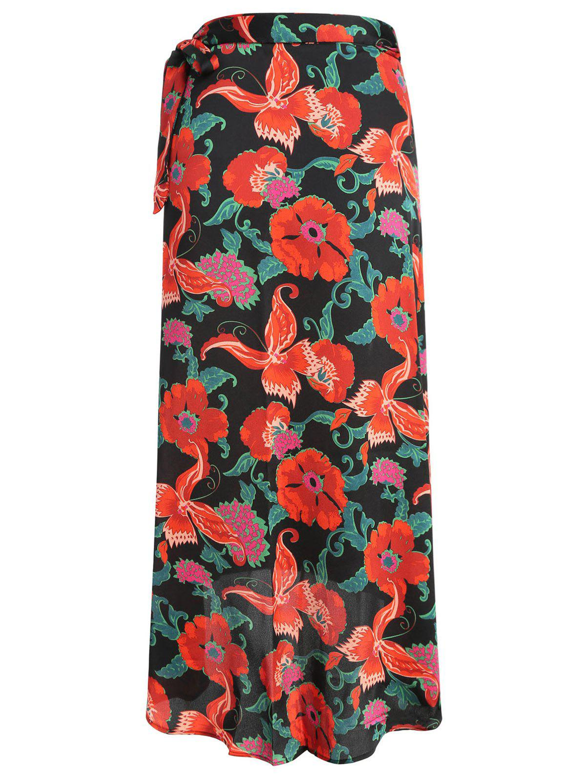 New Gamiss Women's  Vintage Floral Tie Up Waist Summer Beach Wrap Cover Up Maxi Skirt