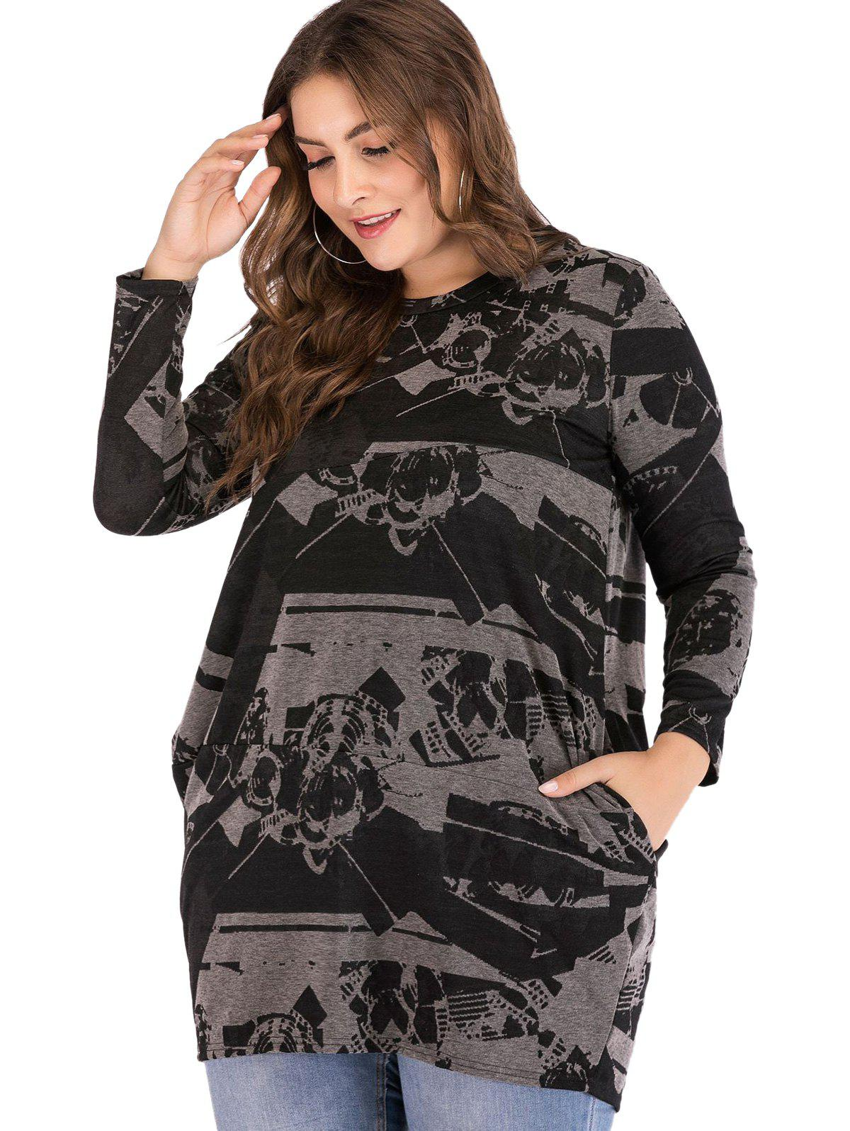 Chic Plus Size Printed Casual Pocket Top