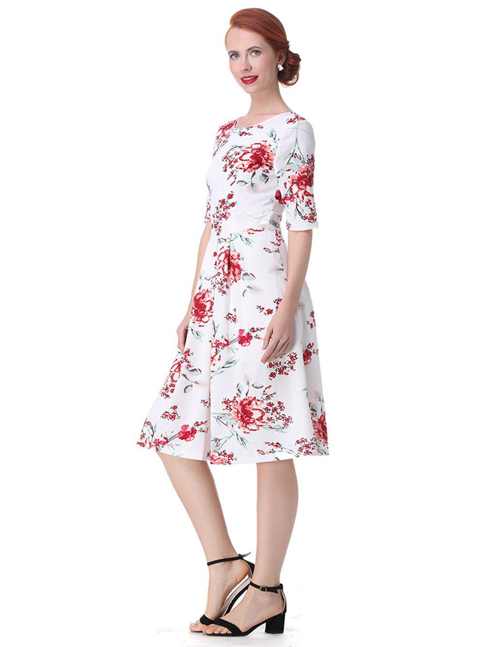 Discount Vintage Backless Floral  Dress