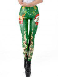 Womens Christmas Printed Leggings High Waist Stretchy Tights -