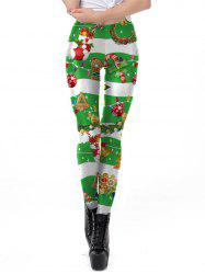 Womens Sexy Christmas Print Active Workout Stretch Footless Leggings -