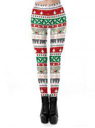 Womens Autumn Winter Snowflake Graphic Printed Stretchy Leggings Pants -