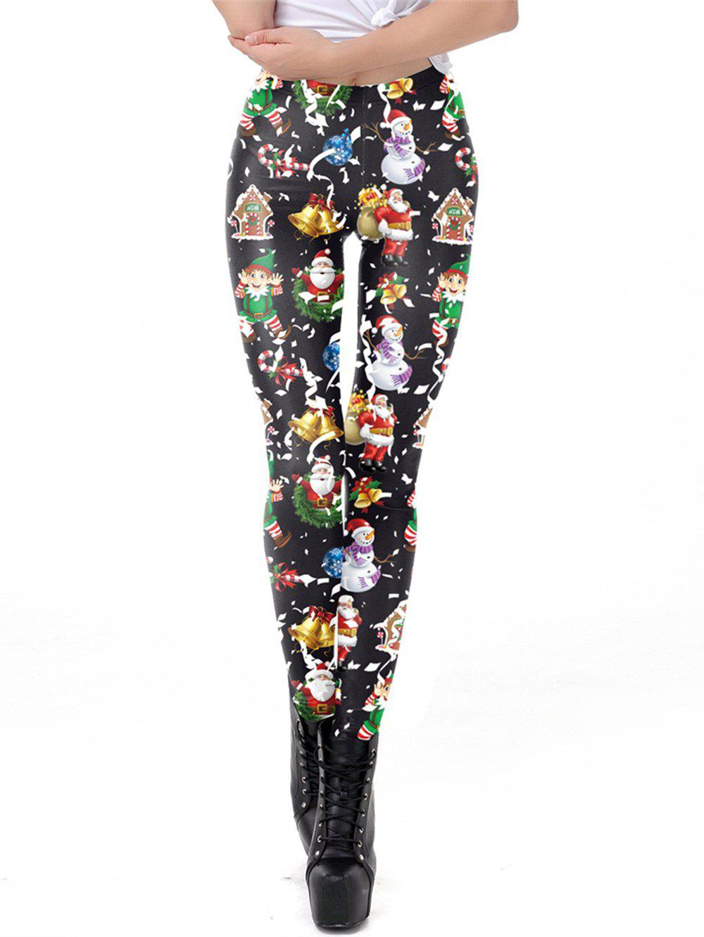Trendy Womens Digital Print Ugly Christmas Stretched Leggings Tights