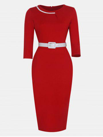 Women Fashion Round Neck and 3/4 Sleeves With belt Bodycon Dress
