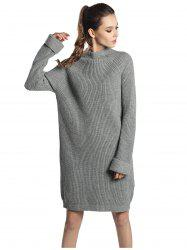 High Neck Raglan sleeve knit sweater Mini dress -