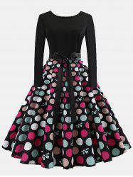 Vintage Print Patchwork Round Collar Long Sleeves Wide Dress - #004 S