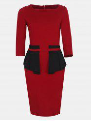 Women Fashion Round Neck 3/4 Sleeve Bodycon Dress -