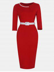 Women Fashion Round Neck and 3/4 Sleeves With belt Bodycon Dress -