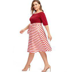 Plus Size Christmas Party Stripe Knee Length Dress -