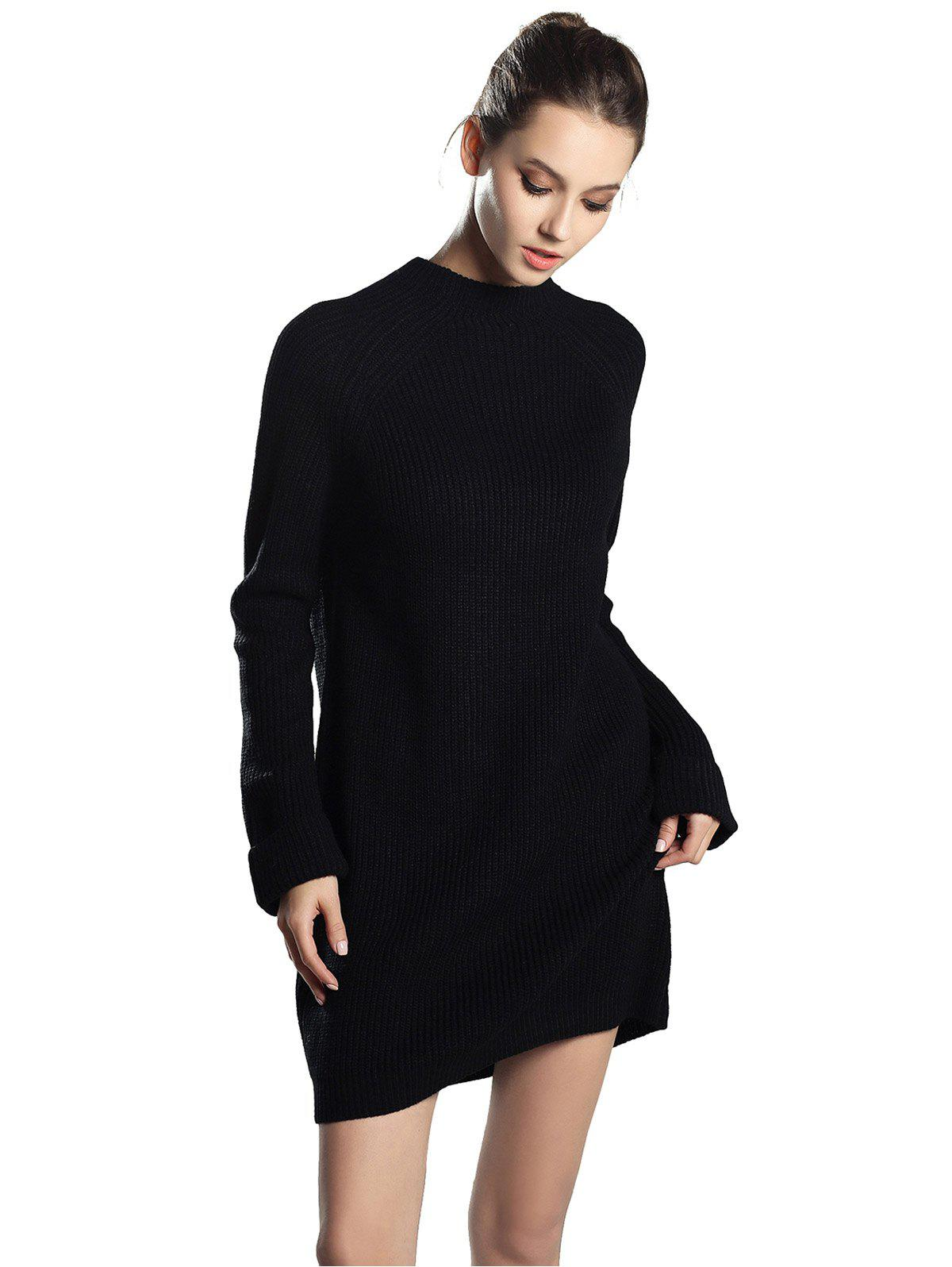 Unique High Neck Raglan sleeve knit sweater Mini dress