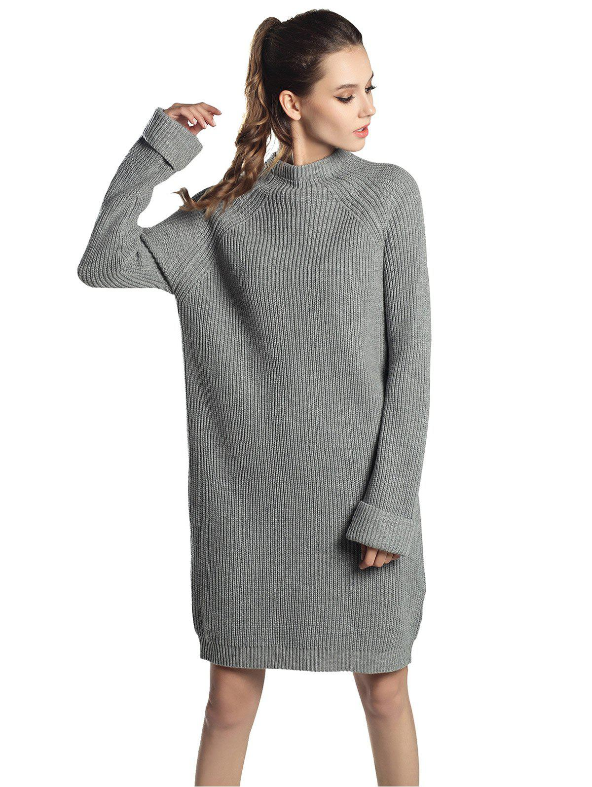 Shops High Neck Raglan sleeve knit sweater Mini dress