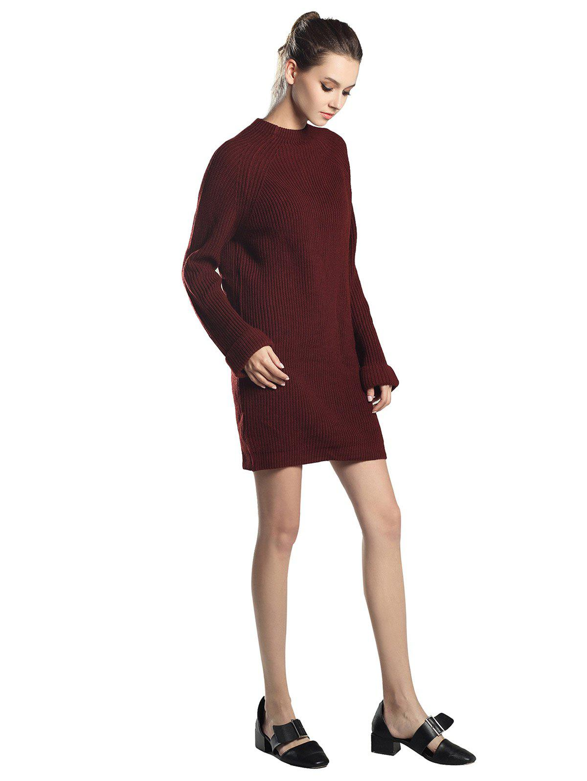 Buy High Neck Raglan sleeve knit sweater Mini dress