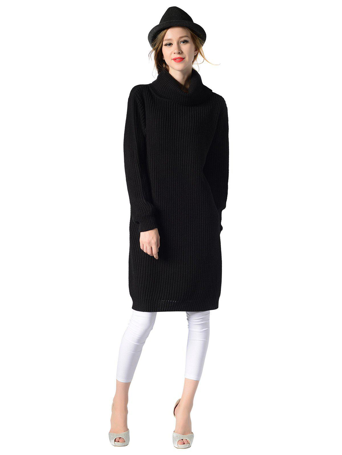 New Women's Turtleneck neck  Long sleeves rib kniting  casual Basic  sweater dress