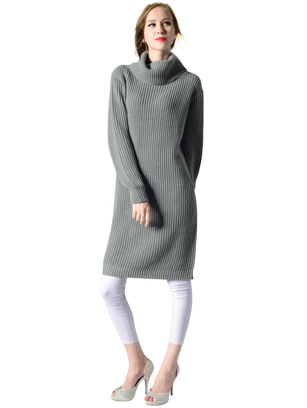 Affordable Women's Turtleneck neck  Long sleeves rib kniting  casual Basic  sweater dress
