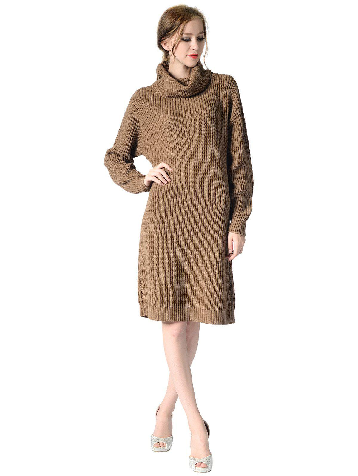Unique Women's Turtleneck neck  Long sleeves rib kniting  casual Basic  sweater dress