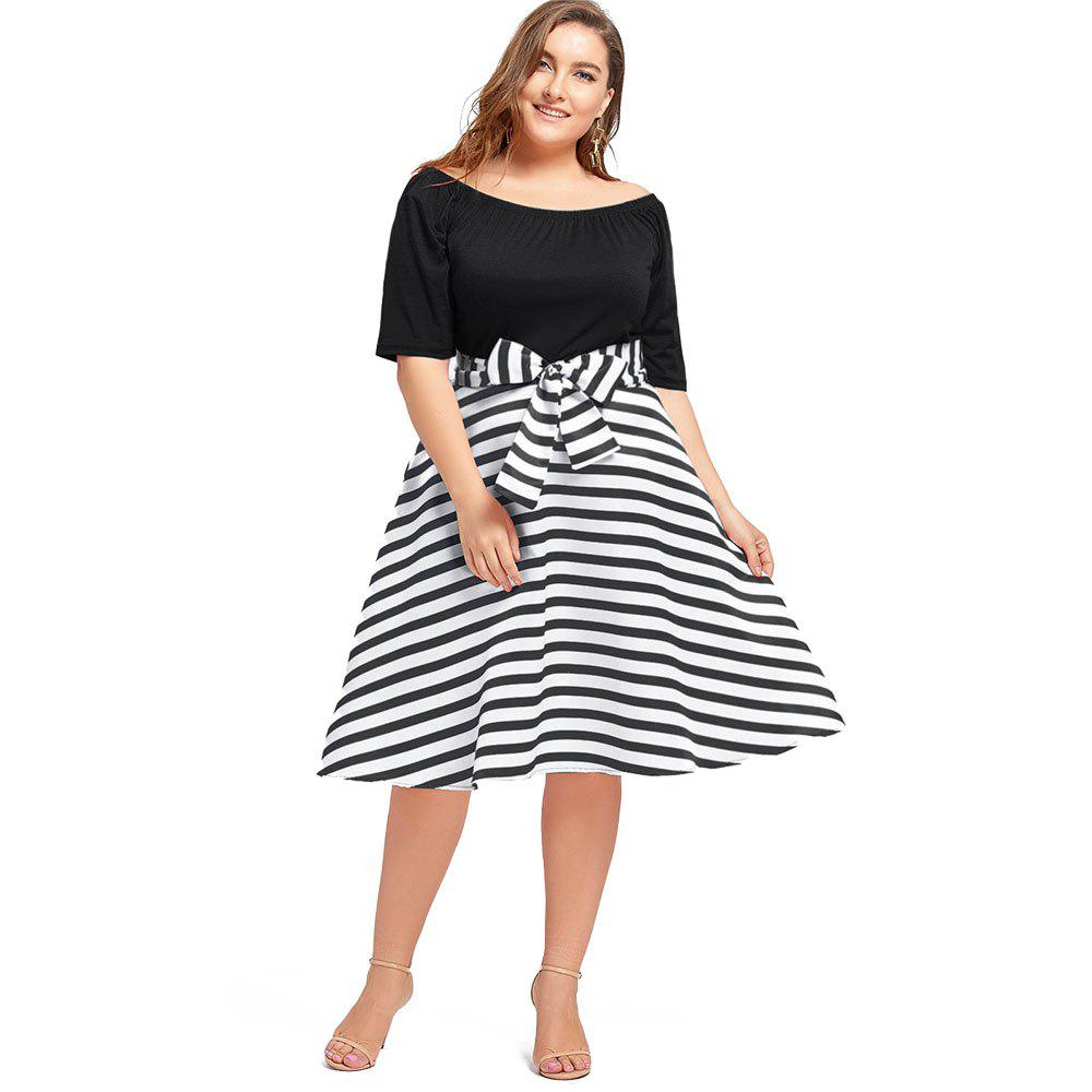 Outfits Plus Size Christmas Party Stripe Knee Length Dress