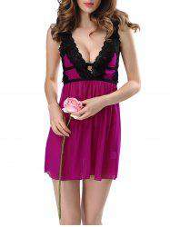 V-neck Sexy Perspective Sexy Babydoll Lingerie Nightdress -