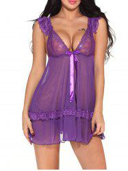 V Neck sexy nightdress Teddy Hollow-out Lingerie Sleepwear -