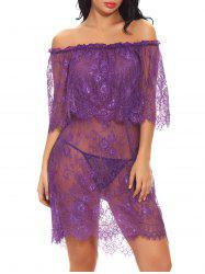 Off Shoulder Sexy Lace Babydoll Lingeries Sleepdress -