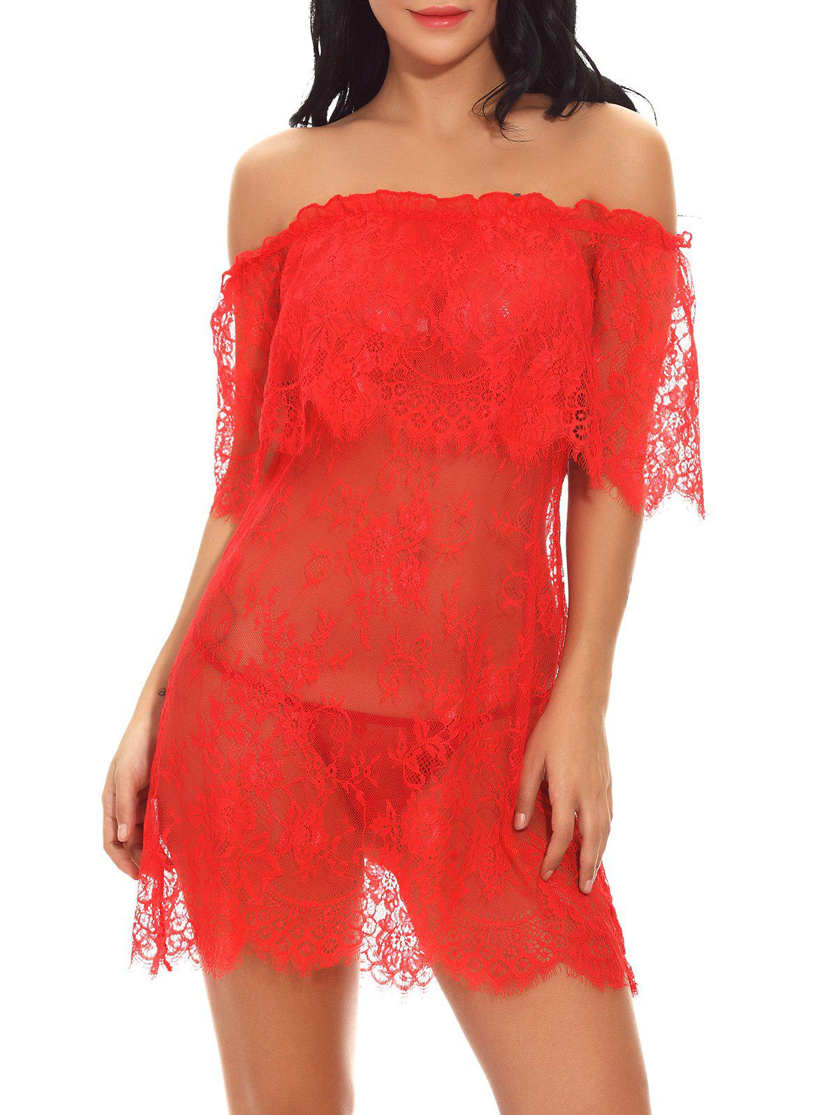 Latest Off Shoulder Sexy Lace Babydoll Lingeries Sleepdress