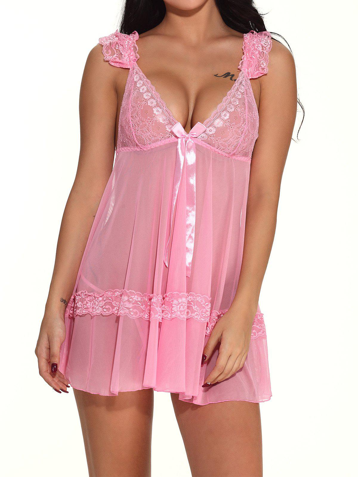 Trendy V Neck sexy nightdress Teddy Hollow-out Lingerie Sleepwear