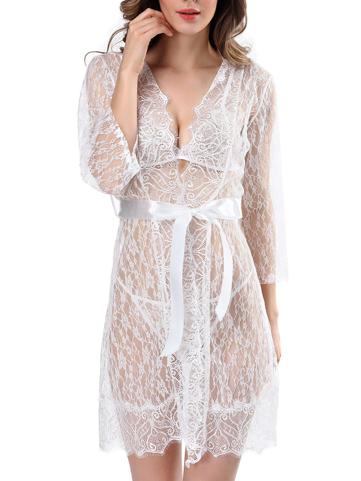 Online Three Pieces Lace Bathrobe Babydoll Lingerie