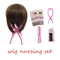 Wig Nursing Sets Stand Holder Plastic Care Steel Comb with 5pc Hairpin Two Wig Cap For Wigs -