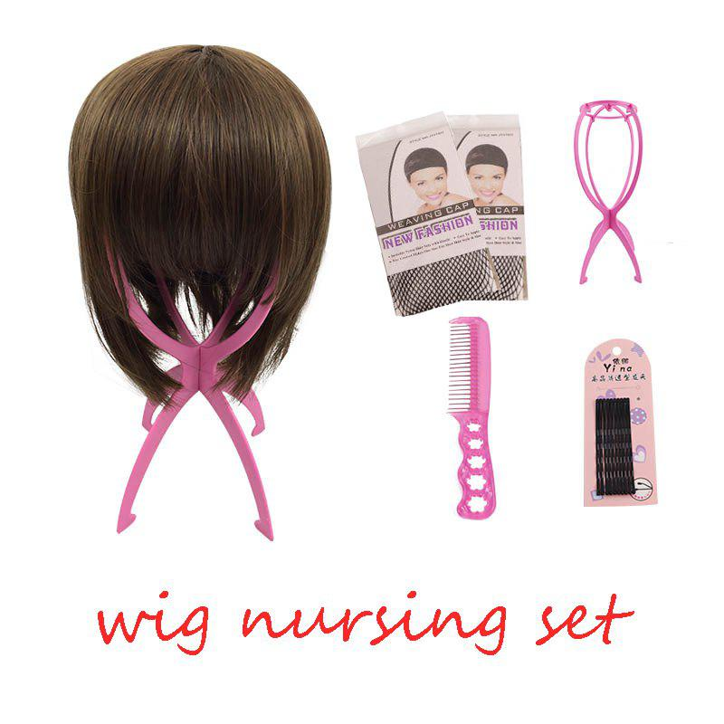 Best Wig Nursing Sets Stand Holder Plastic Care Steel Comb with 5pc Hairpin Two Wig Cap For Wigs