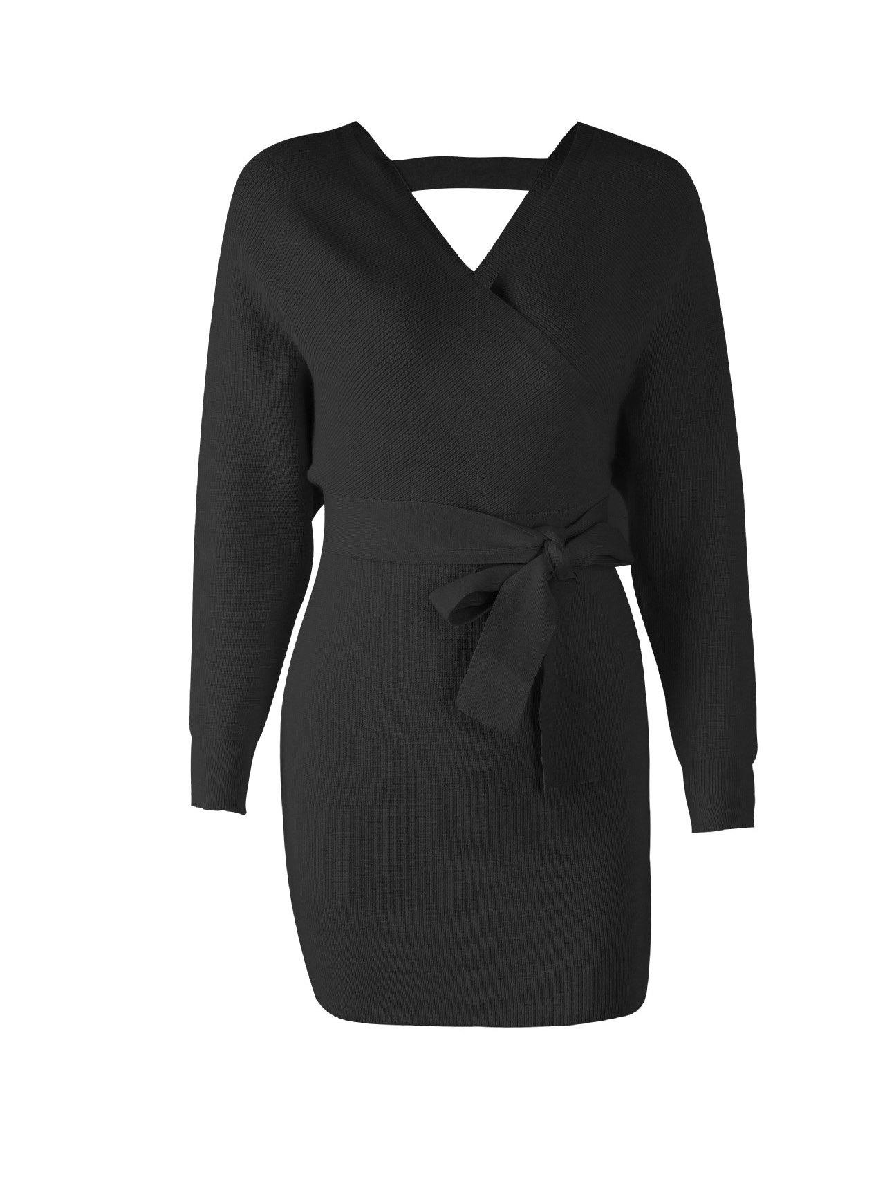 4f5a8ed3d51 Cheap V-neck belt Collect waist long sleeve dress backless sweater dress