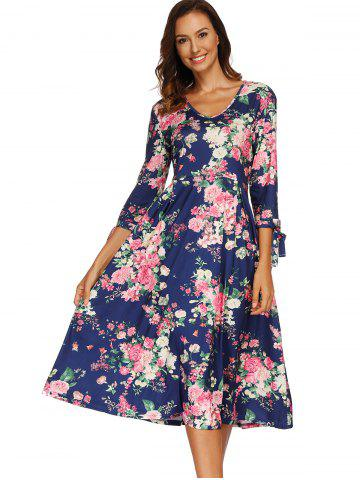 V Neck Seven Sleeves Print Dress
