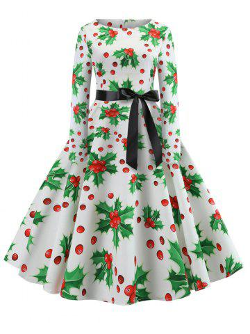 Hepburn Vintage Series Women Dress Spring And Winter Round Neck Christmas Printing Stitching Design Long Sleeve Belt Corset Retro Dress