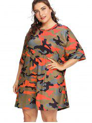 Plus Size Camouflage Casual Short Sleeve T-shirt -