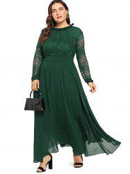 Plus Size Lace Stitching Chiffon Dress -