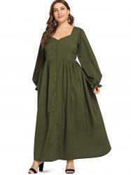 Plus Size Button Long Vintage Dress -