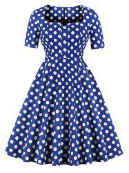 Hepburn Vintage Series Women Dress Spring And Summer Square-cut Collar Dot Printing Design Half Sleeve Corset Dress -