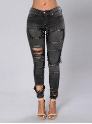 Women Jeans Trousers Slim Pencil Gray Ripped Skinny  Ripped Knee Hole Pocket Jeans  Pants -
