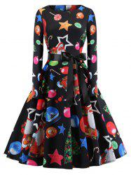 Hepburn Vintage Series Women Dress Spring And Summer Round Neck Christmas Printing Design Long Sleeve Belt Corset Dress -