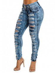 Womens Sexy High Waist Pencil Jeans Casual Blue Ripped Denim Pants Lady Long Skinny Slim Jeans -