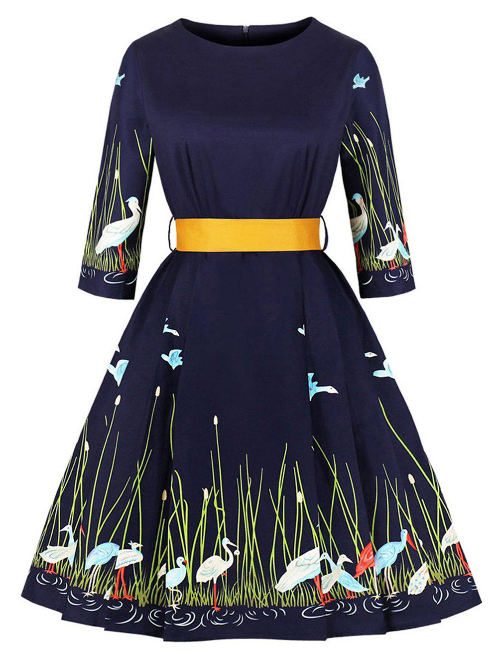 Outfits Hepburn Vintage Series Women Dress Spring And Summer Round Neck Swan Printing Design 3/4 Sleeve Belt Corset Dress