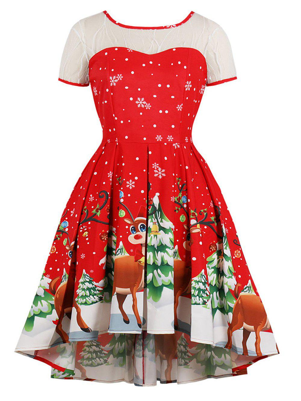 Chic Hepburn Vintage Series Women Dress Spring And Summer Round Neck Christmas Printing Lace-stitching Design Short Sleeve Corset Dress