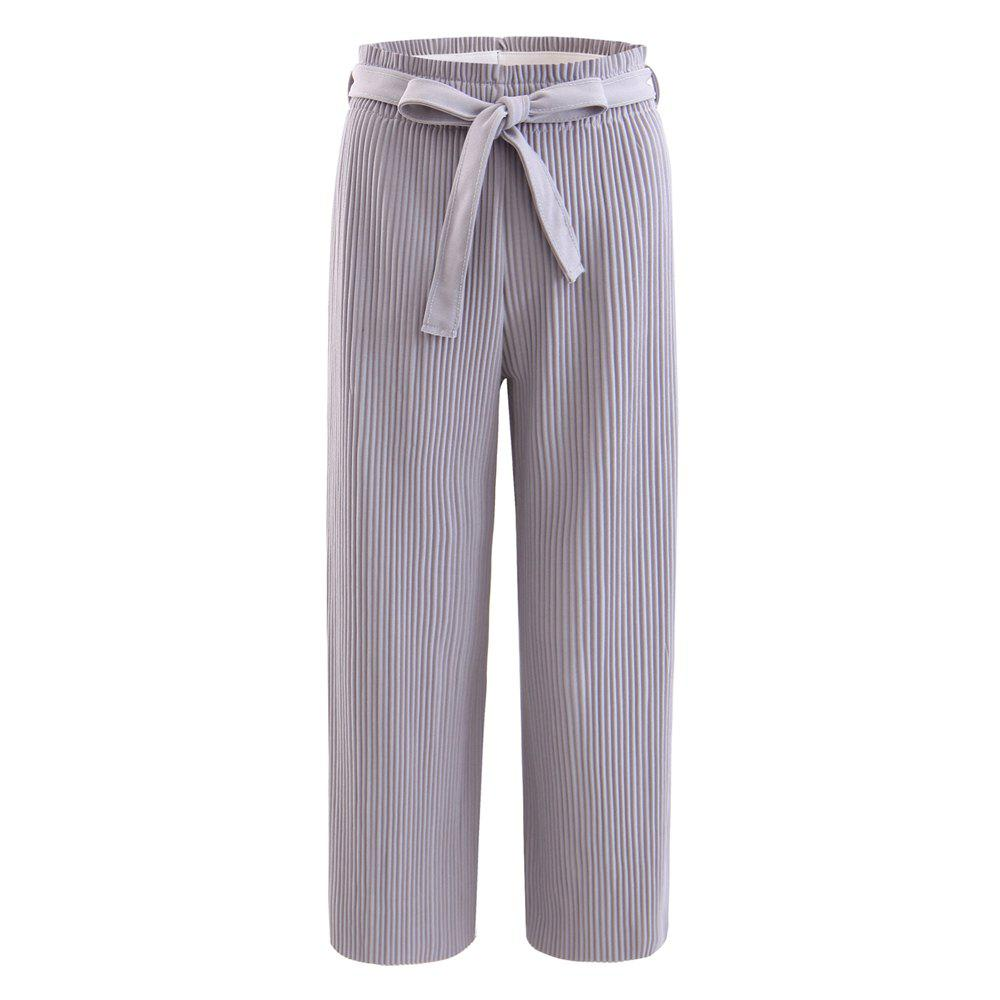Discount Elastic Pleated Pants with Self Belt
