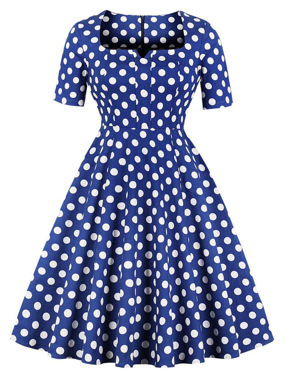 Outfit Hepburn Vintage Series Women Dress Spring And Summer Square-cut Collar Dot Printing Design Half Sleeve Corset Dress