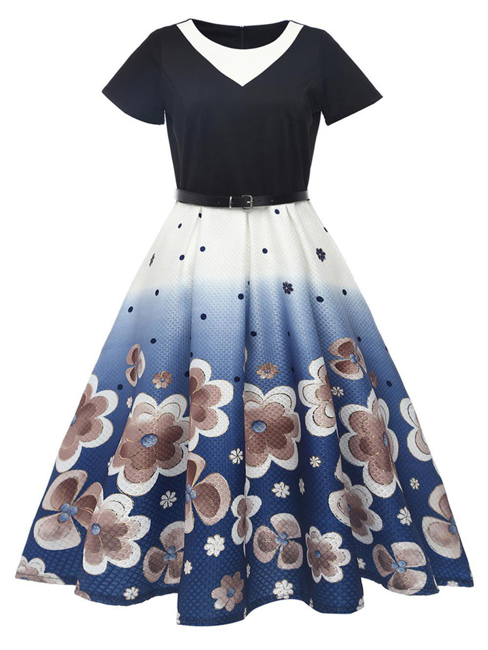 Buy Hepburn Vintage Series Women Dress Spring And Summer Round Neck Floral Printing Stitching Design Short Sleeve Corset Dress