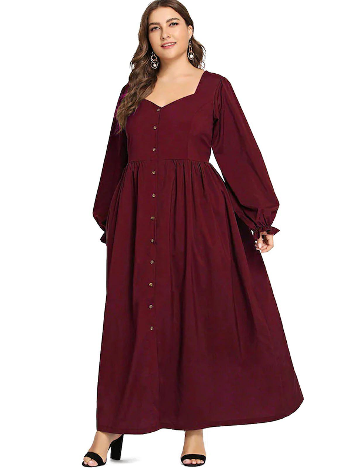 50% OFF] Plus Size Button Long Vintage Dress | Rosegal